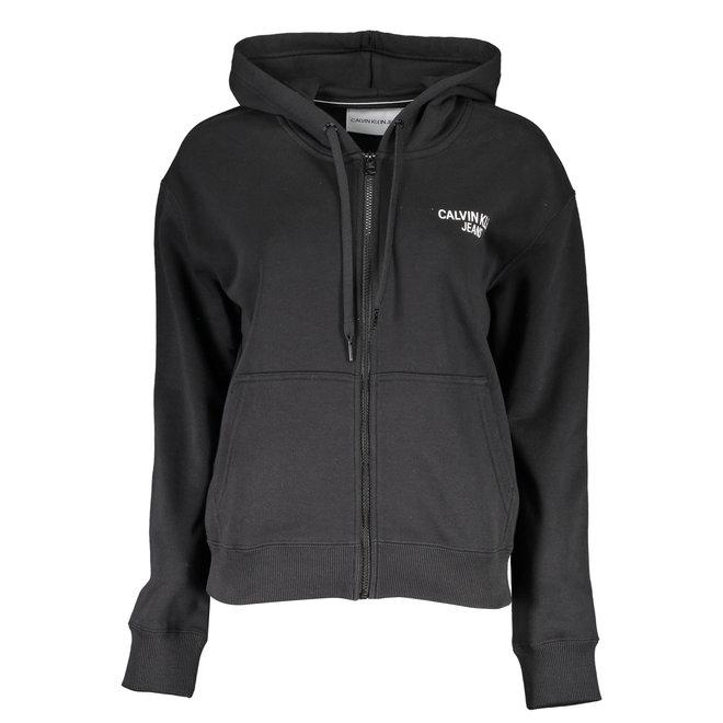 Black Logo Full Zip Hoodie Women