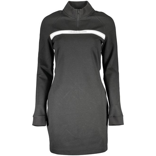 Black Milano Jersey Zip Neck Dress