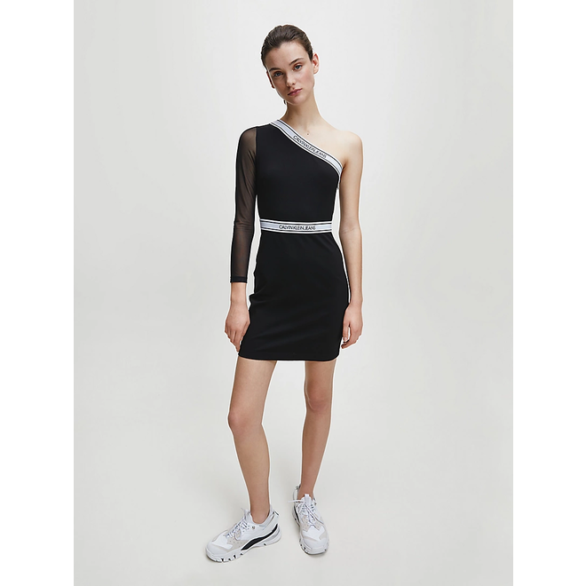 Black Milano Jersey One-Shoulder Dress