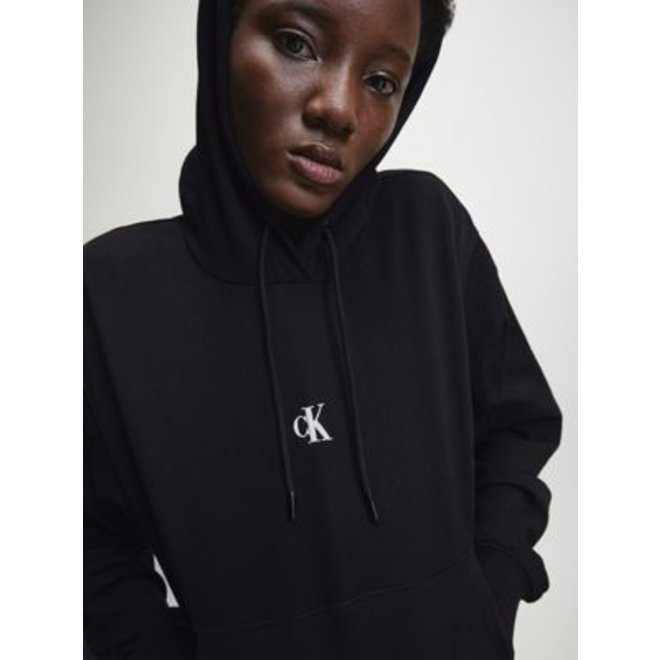 Puff Print Back Logo Hoodie Women - Black
