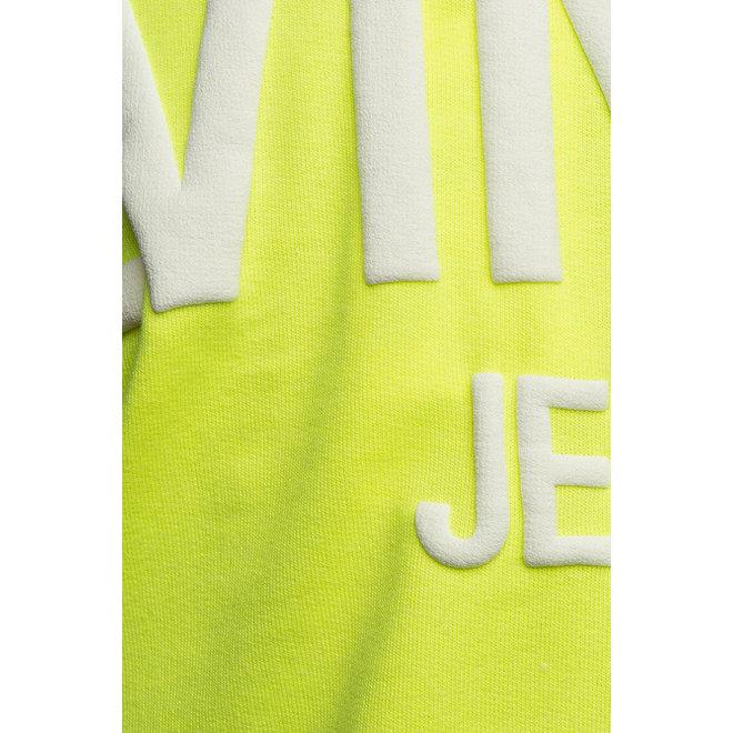 Puff Print Back Logo Hoodie Women - Neon Geel