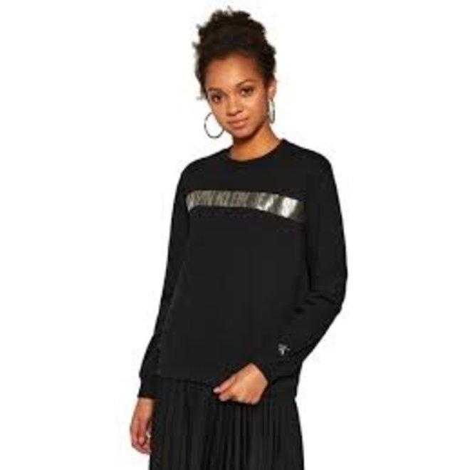 Black Metallic Stripe Logo Sweatshirt Women
