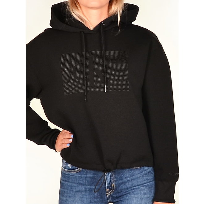Black Cotton Hooded Sweatshirt Women