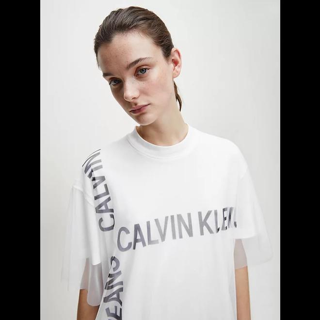 White Double Layer Logo T-shirt Dress