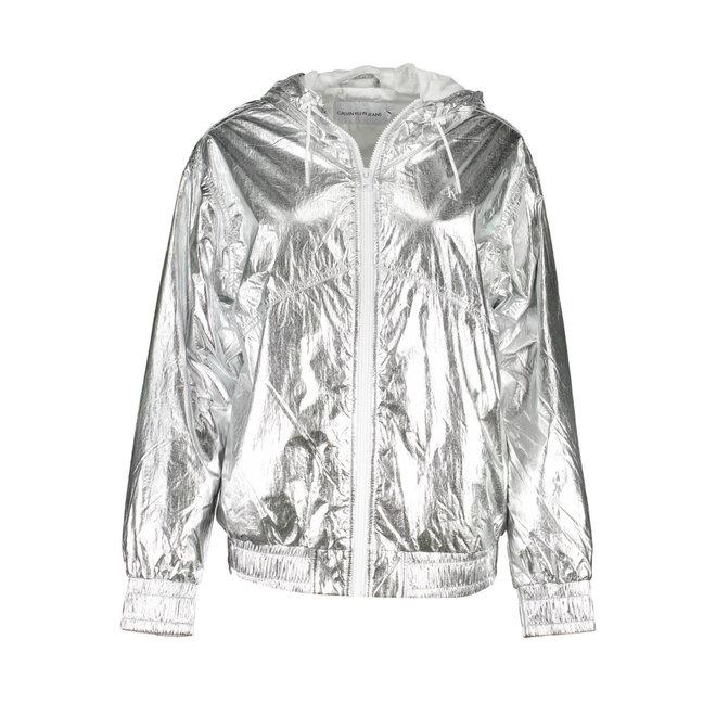 Silver metallic hooded windbreaker Women