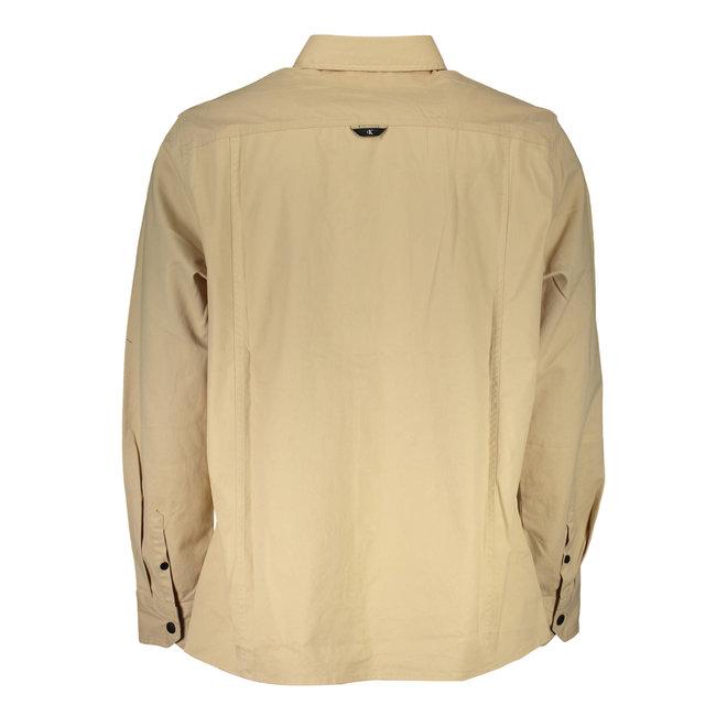 Beige Cotton Twill Utility Shirt Men