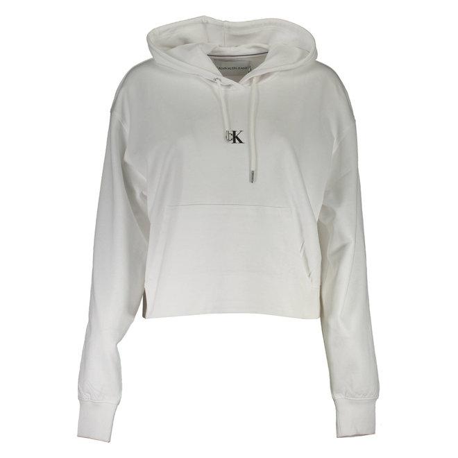 Puff Print Back Logo Hoodie Women - White
