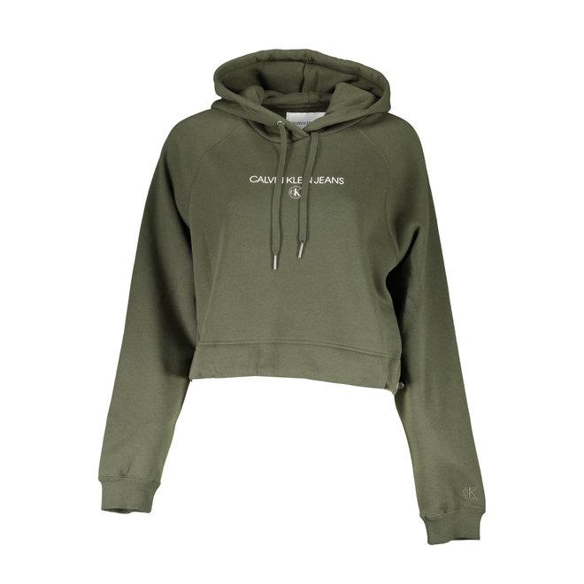 Women Cropped Logo Hoodie - Green