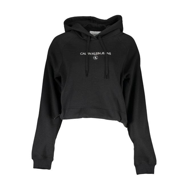 Women Cropped Logo Hoodie - Black