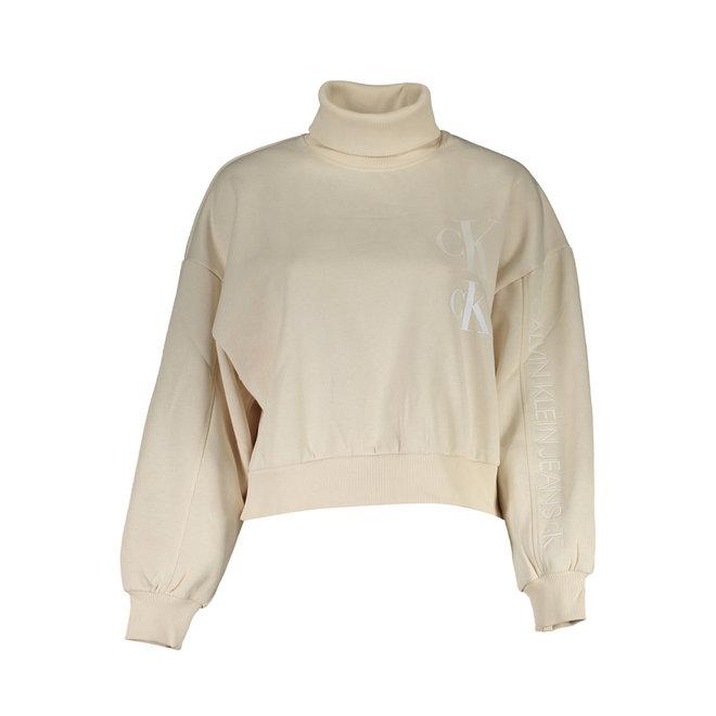 Beige Roll Neck Sweatshirt Women