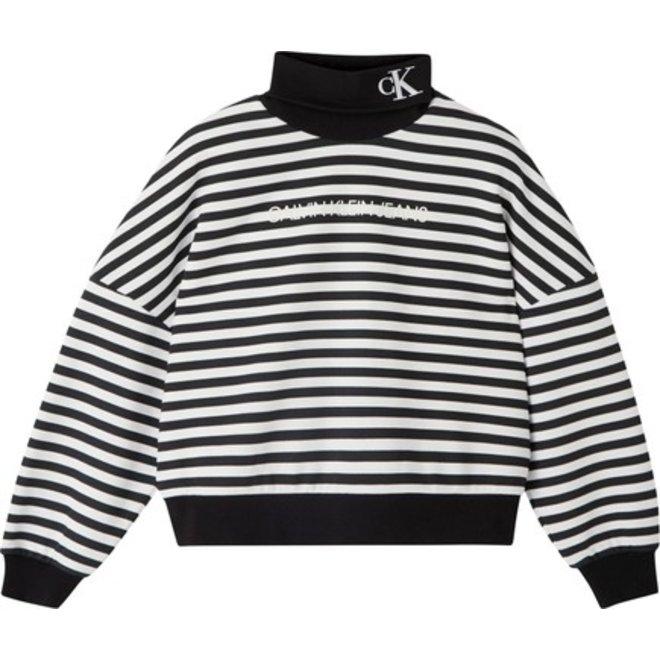Stripe Roll Neck Sweatshirt Women