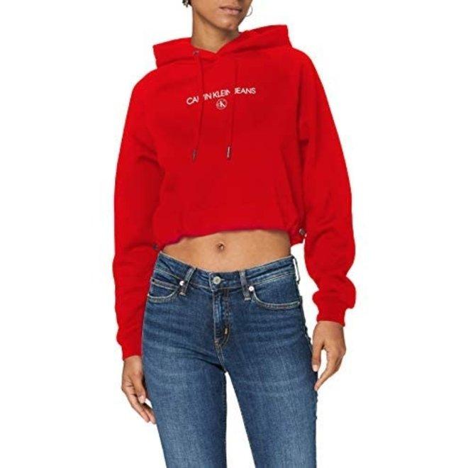 Women Cropped Logo Hoodie - Red