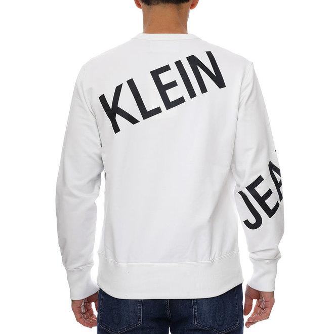 White Stretch Fleece Logo Sweatshirt Men