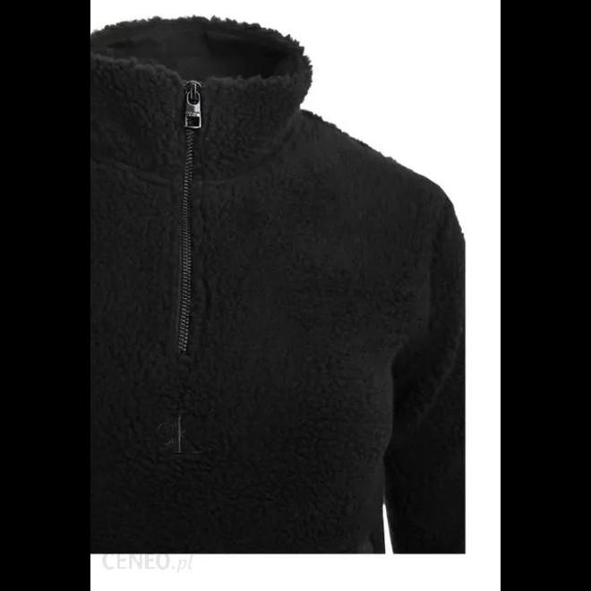 Black Sherpa Mock Neck Zip Women