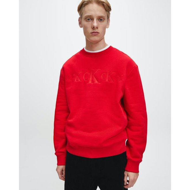 Red Recycled Cotton Blend Sweatshirt Men