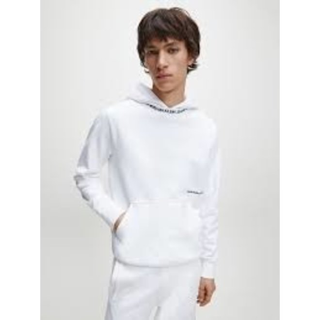 White Institutional Logo Collar Hoodie Men