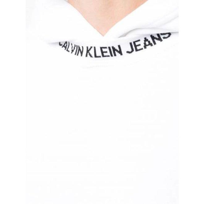 White Institutional Logo Collar Hoodie Men