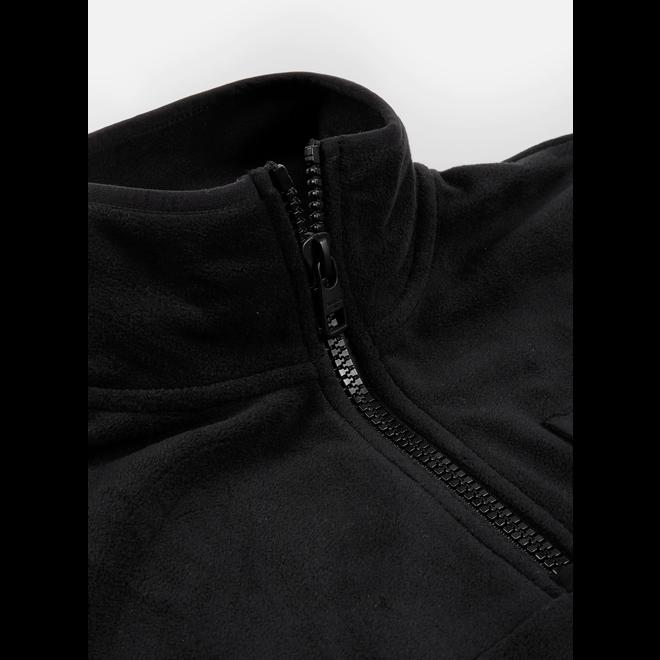 Black Polar Fleece Zip Neck Sweatshirt Men