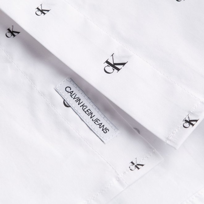 White CK Monogram Shirt Men