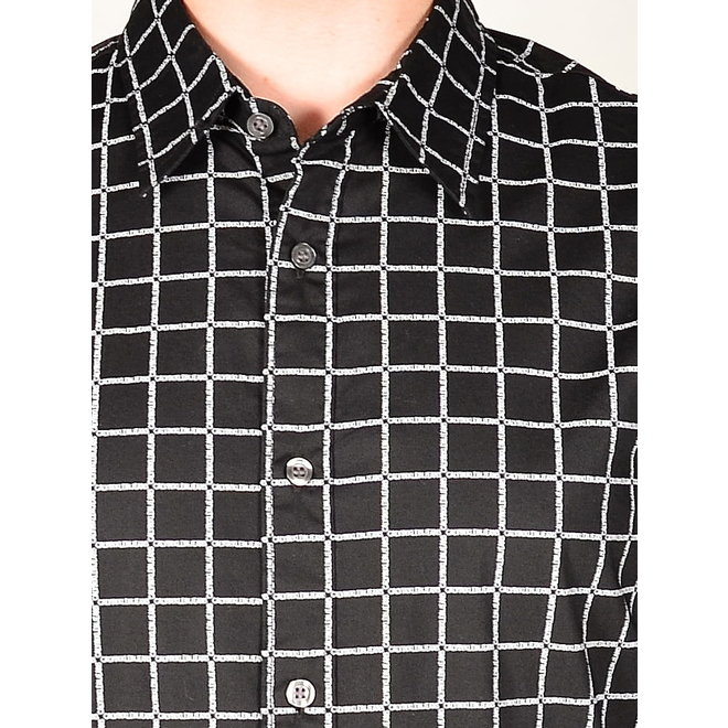 Black Slim Fit Casual Shirt Men