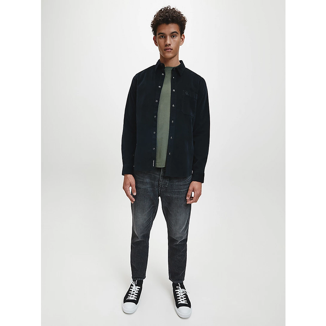 Black Slim Cotton Corduroy Shirt Men