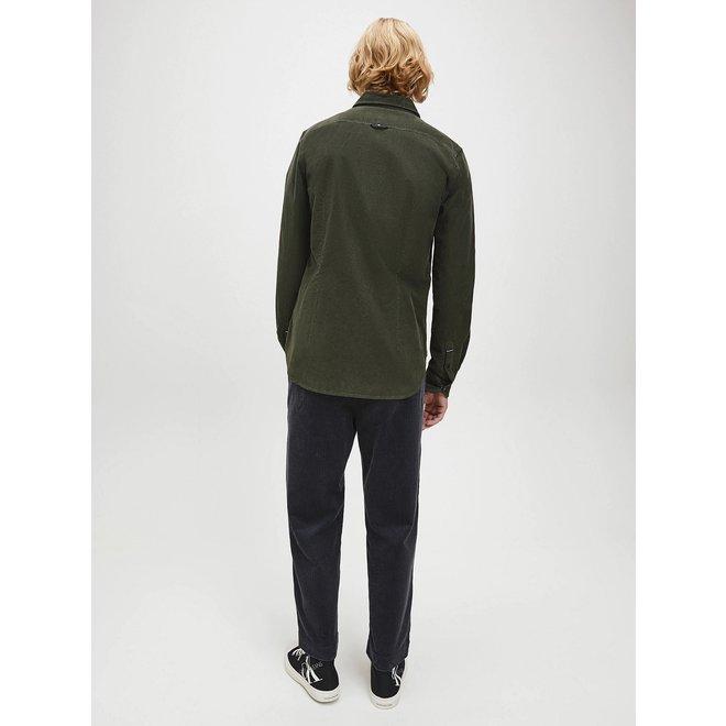 Green Slim Cotton Corduroy Shirt Men