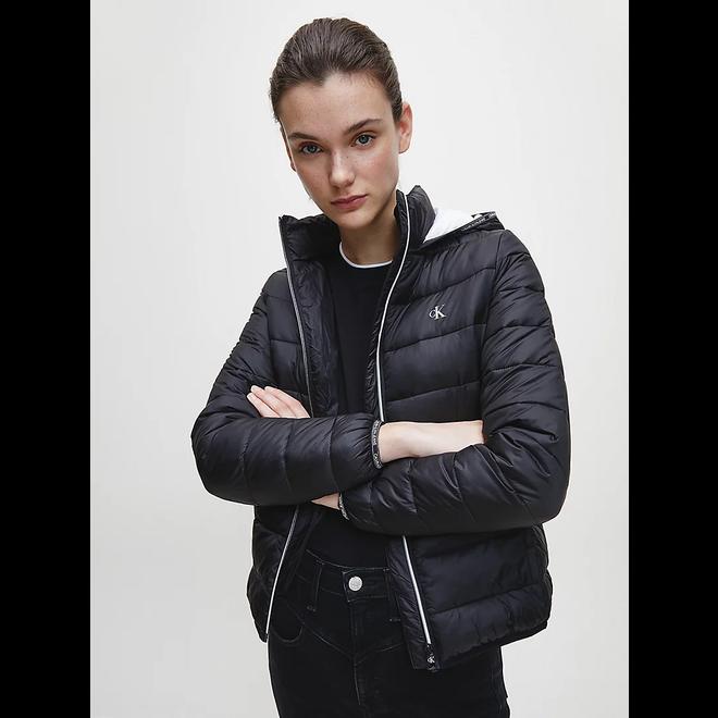 Black Logo padded puffer jacket Women