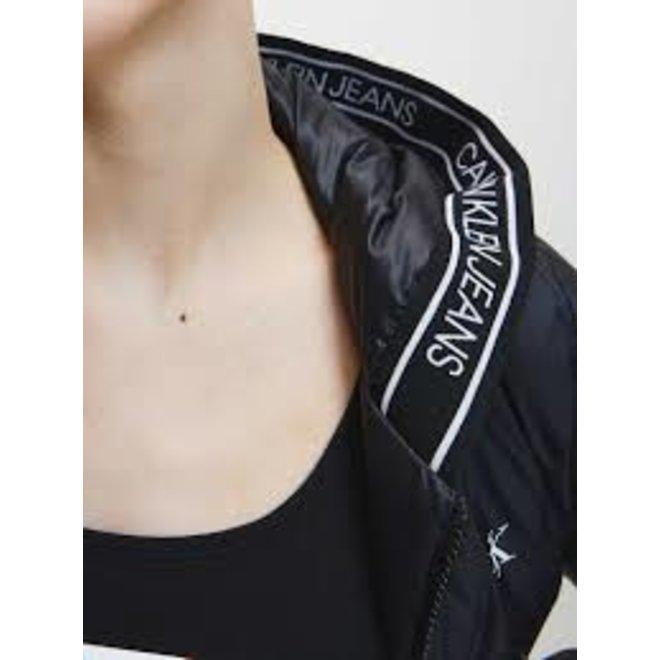 Black Logo Tape Hooded Jacket Women