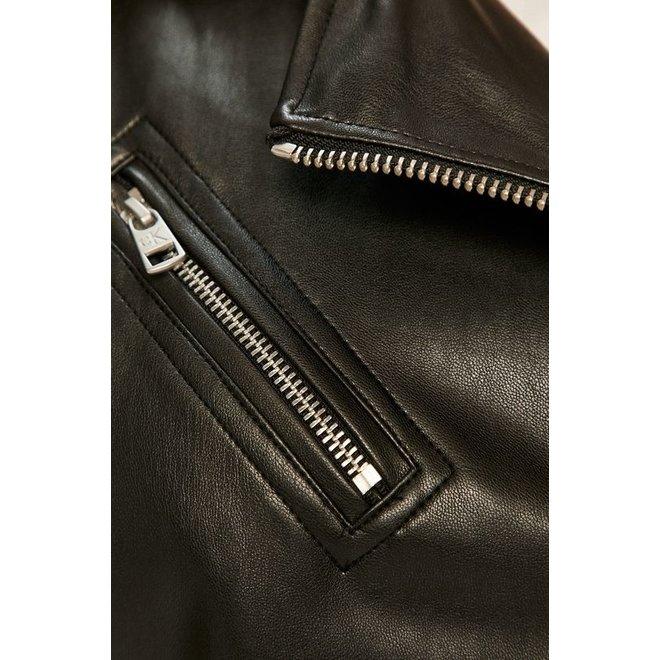 Black Faux Leather Hooded Biker Jacket Women