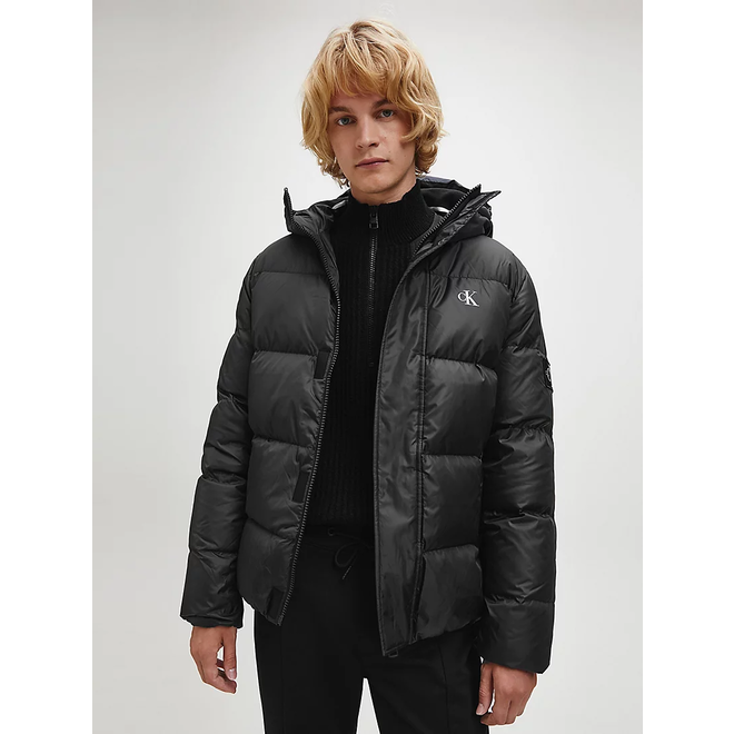 Black Recycled Polyester Down Puffer Jacket Men