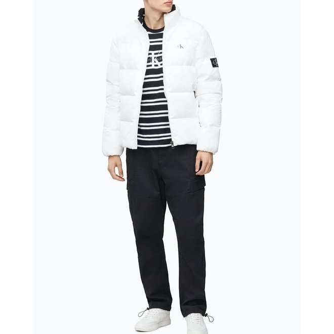 White Recycled Polyester Down Puffer Jacket Men