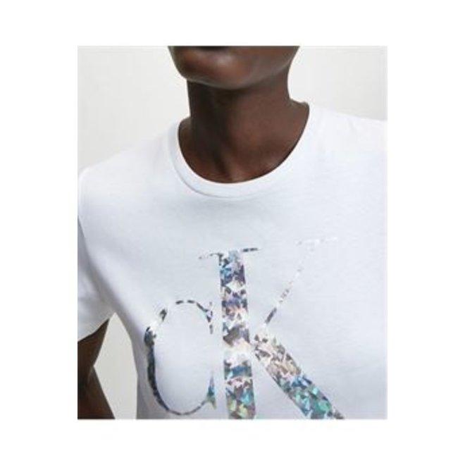 White Iridescent Metallic Logo T-Shirt Women