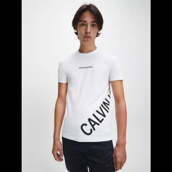 White Slim Stretch Logo T-shirt Men