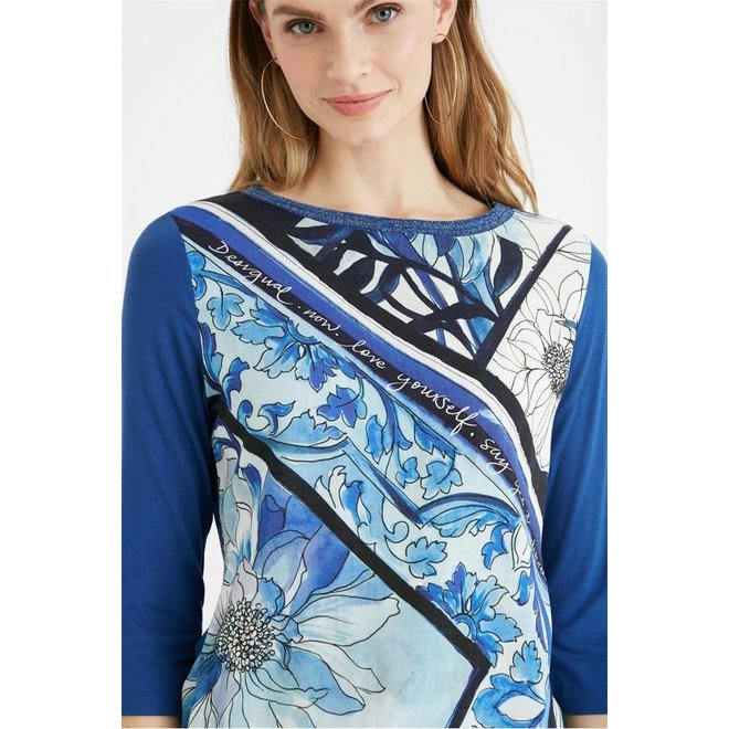 All over print Blue long sleeve T-shirt Women