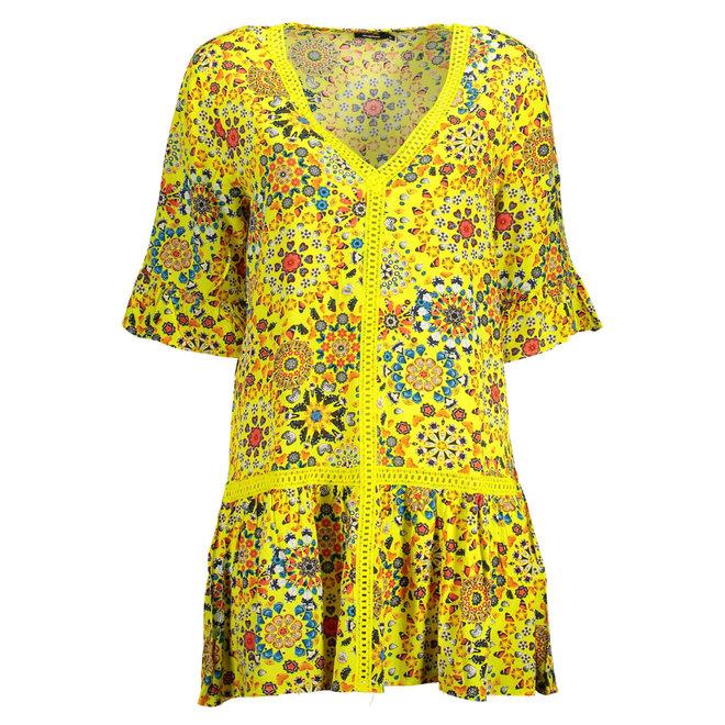 Flounces Mandala v- neck summer dress - yellow