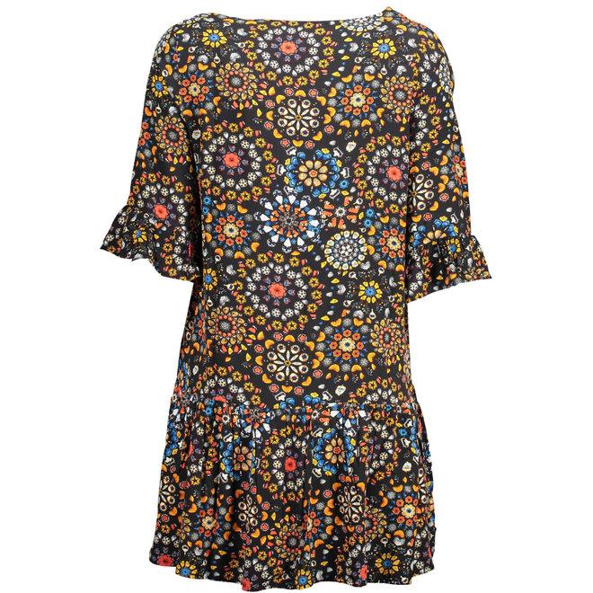Flounces Mandala v- neck summer dress - Black