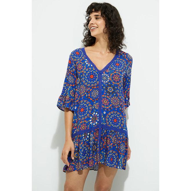 Flounces Mandala v- neck summer dress - Blue