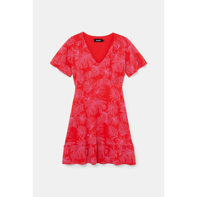 Short flowing Flower dress - Red
