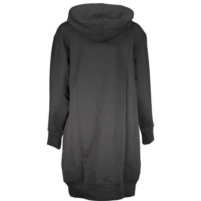 Grid Logo Hooded Dress - Black