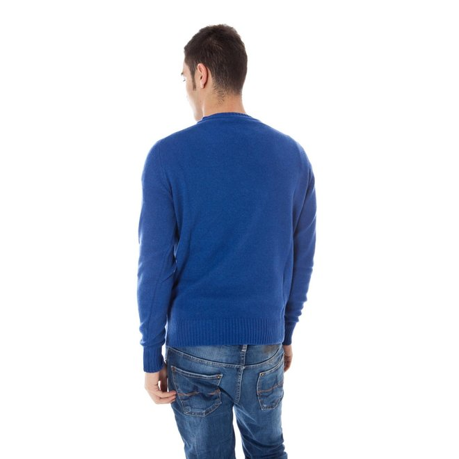 Cashmere Blend Sweater Men - Bright Blue