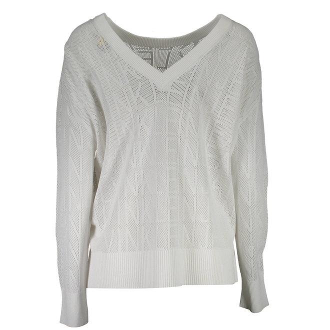Mesh knit logo jumper - White
