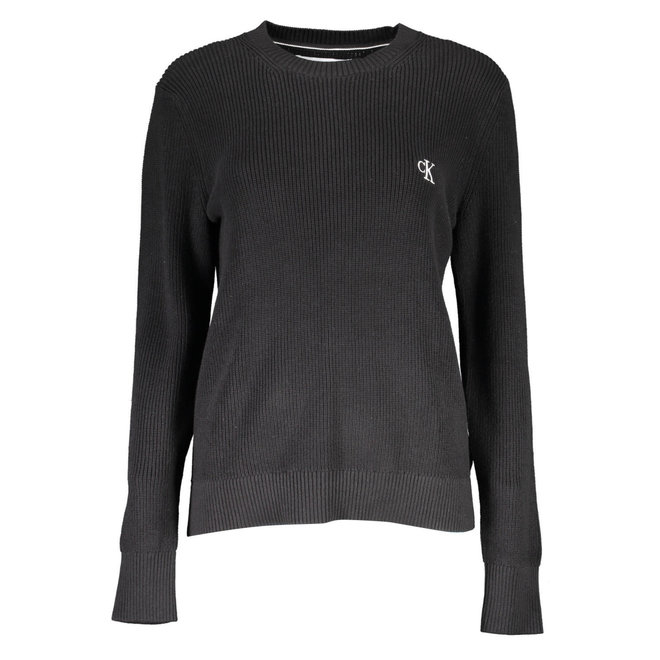 Textured cotton knit jumper - Black