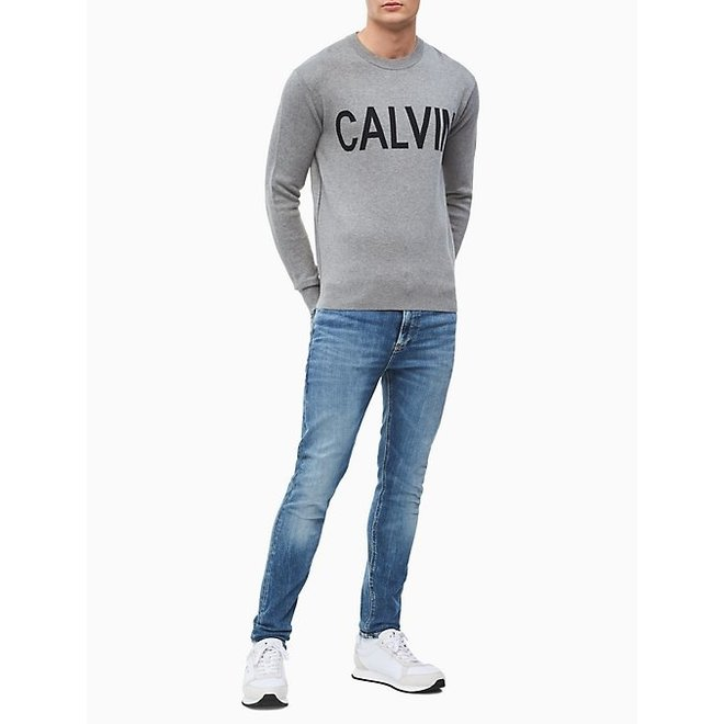 Regular fit combed cotton logo sweater