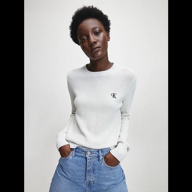 Textured cotton knit jumper - Nature white