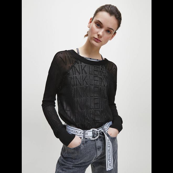 Mesh knit logo jumper - Black