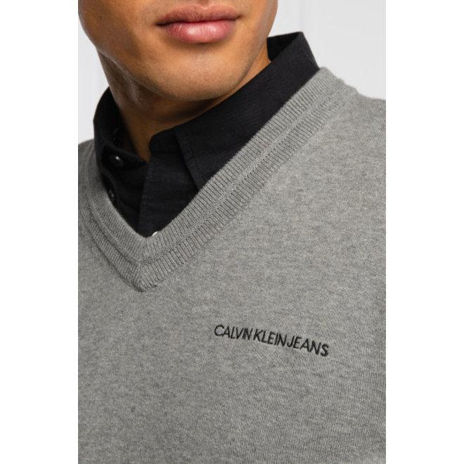 Cotton V-Neck jumper - Grey