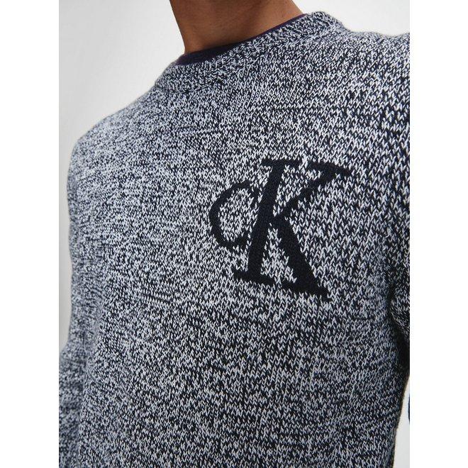 Heathered Cotton Wool Jumper Men - CK Black