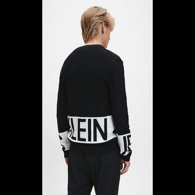 Cotton Cashmere Logo Jumper Men - CK Black