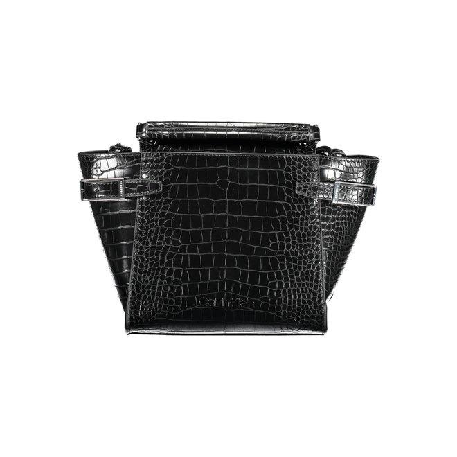 Winged Top Handle Small Satchel Bag Women - Black
