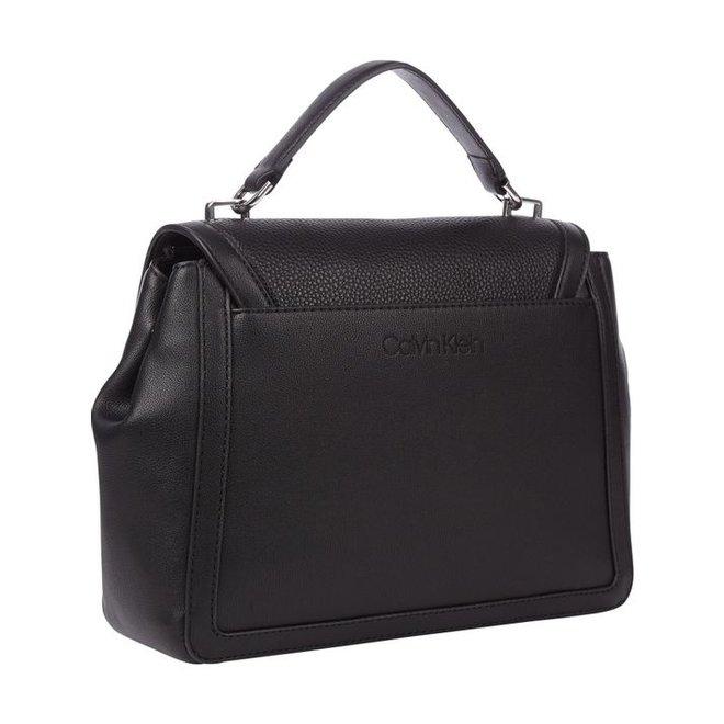 CK Signature Flap Top Handle Bag - Black